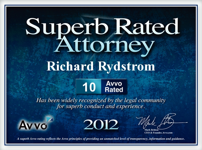 OC Avvo Business Real Estate Litigation Injury Attorney Rich Rydstrom 2012 AVVO OCMetro Top Attorney Award